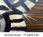 Painted Tribal Pattern On Wood...