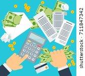 payment of bills flat vector... | Shutterstock .eps vector #711847342