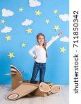 little dreamer girl playing... | Shutterstock . vector #711850342