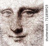 fractal drawn mona lisa... | Shutterstock . vector #711858925