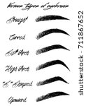eyebrow shapes. various types... | Shutterstock .eps vector #711867652