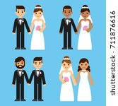 cute cartoon diverse wedding... | Shutterstock . vector #711876616