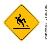 wet floor icon signal isolated... | Shutterstock .eps vector #711881182
