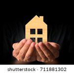 mortgage concept by house from... | Shutterstock . vector #711881302