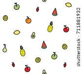 mixed fruit seamless pattern ...   Shutterstock .eps vector #711881932