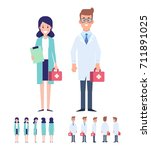 team of medical workers... | Shutterstock .eps vector #711891025
