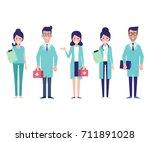 team of medical workers...   Shutterstock .eps vector #711891028