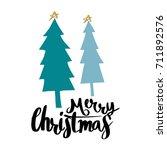 merry christmas lettering... | Shutterstock .eps vector #711892576