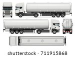 tanker truck vector mock up for ... | Shutterstock .eps vector #711915868