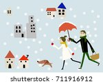 winter image lovers and dog in...   Shutterstock .eps vector #711916912