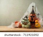 halloween background with... | Shutterstock . vector #711921052