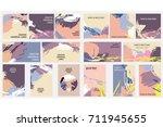 set of creative universal cards.... | Shutterstock .eps vector #711945655