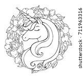 unicorn  wreath of flowers.... | Shutterstock .eps vector #711963316