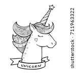 unicorn  ribbon with text.... | Shutterstock .eps vector #711963322