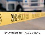 yellow police line do not cross ... | Shutterstock . vector #711964642