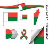 flag with elements madagascar | Shutterstock .eps vector #711967945