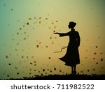 young girl is standing and... | Shutterstock .eps vector #711982522