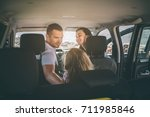 happy family on a road trip in... | Shutterstock . vector #711985846