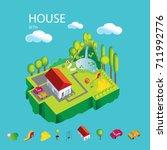 vector illustration of house on ... | Shutterstock .eps vector #711992776