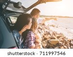 happy family on a road trip in... | Shutterstock . vector #711997546