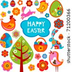 Easter Card With Many Graphica...