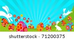 easter landscape with bunnies... | Shutterstock .eps vector #71200375