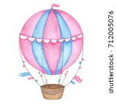 watercolor hand painted hot air ... | Shutterstock . vector #712005076