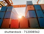 sunshine on the stack of cargo... | Shutterstock . vector #712008562