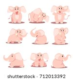 cartoon elephant cute baby pink | Shutterstock .eps vector #712013392
