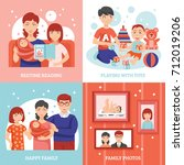 family concept icons set with... | Shutterstock . vector #712019206