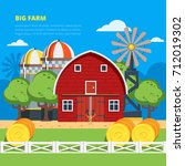 big farm flat colorful... | Shutterstock . vector #712019302