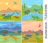 dinosaurs 2x2 design concept... | Shutterstock . vector #712019386
