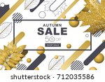 autumn sale horizontal banners... | Shutterstock .eps vector #712035586