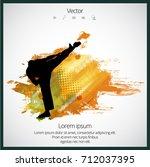 martial arts. high kick | Shutterstock .eps vector #712037395