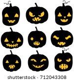 vector pumpkin silhouettes in... | Shutterstock .eps vector #712043308