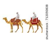 arab men riding a camel. vector ... | Shutterstock .eps vector #712050838