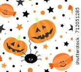 seamless tiling cute halloween... | Shutterstock . vector #712051285