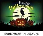 vector halloween card  evil... | Shutterstock .eps vector #712065976
