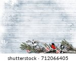 winter background with branches ... | Shutterstock . vector #712066405