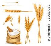 bunch of wheat ears  dried... | Shutterstock .eps vector #712067782