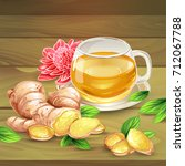 glass cup of ginger tea with... | Shutterstock .eps vector #712067788