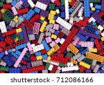 lot of various colorful lego... | Shutterstock . vector #712086166