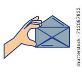 hand human with envelope mail... | Shutterstock .eps vector #712087822