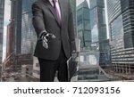 a robot businessman with open... | Shutterstock . vector #712093156