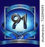 91 years anniversary design... | Shutterstock .eps vector #712094095