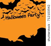 halloween party with bats | Shutterstock .eps vector #712103542