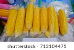 boiled cooking corn  | Shutterstock . vector #712104475