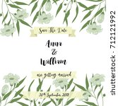 invitation or wedding card with ... | Shutterstock .eps vector #712121992
