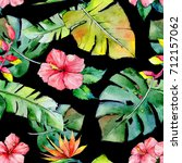 tropical hawaii leaves pattern... | Shutterstock . vector #712157062