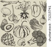 hand drawn set vegetables | Shutterstock .eps vector #71215741